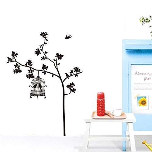 Evertrust (TM) rondine Singing Tree Birdcage DIY Wall Sticker Wallpaper