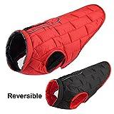 YEUI Hundejacke, wasserdicht, für den Winter, wendbar, für kleine und mittelgroße Hunde, Chihuahua, Mops, rot, Large