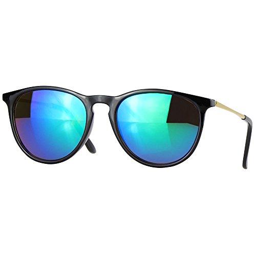 caripe Retro Sonnenbrille Hornbrille Brille -139 (big - schwarz - bluegreen verspiegelt)