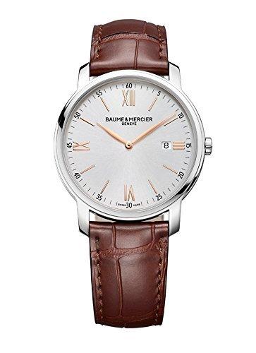 Nuevo–Baume & Mercier Classima plata marrón 42mm cuarzo reloj MOA1014410144