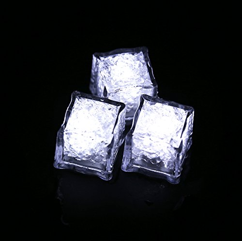 (Pack of 12) Led Ice Cubes Enter Liquid Automatically Glows White,Waterproof Led Lamp,Put Into Ice Bucket or Champagne Tower to Use,Apply to Bar, Club, Wedding, Family Party