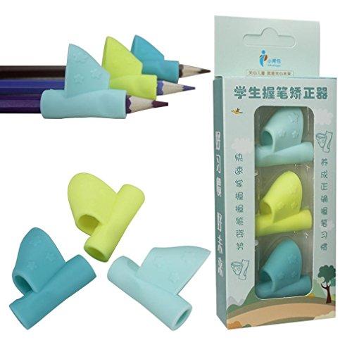 Jaminy 3PCS / Gesetztes Kind-Hilfsmittel-Bleistift-Schreibhilfen-Grip-Haltungs-Korrektur-Werkzeug - B (Gesetzt Dreieck-spitze)