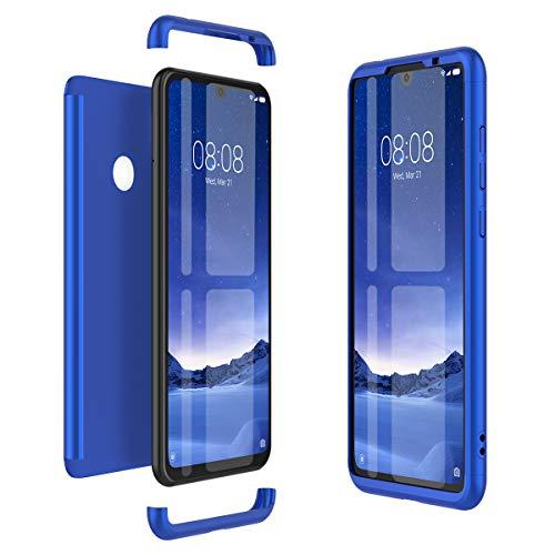 Winhoo Kompatibel mit Xiaomi Redmi Note 7 Hülle Hardcase 3 in 1 Handyhülle 360 Grad Schutz Ultra Dünn Slim Hard Full Body Case Cover Backcover Schutzhülle Bumper - Blau