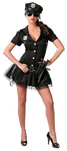 Fancy Me Damen Sexy American Offizier Polizei Polizistin Polizist Uniform Kostüm Kleid Outfit UK 8-16 - Schwarz, Schwarz, 12-14