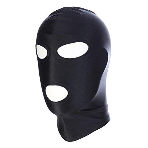 Herren Kostüm Spandex - Bestoyard Kopfbedeckung mit Augen- und Mundöffnung, verdeckbare Augen, Maske für Zentai-Rollenspiele, Größe M