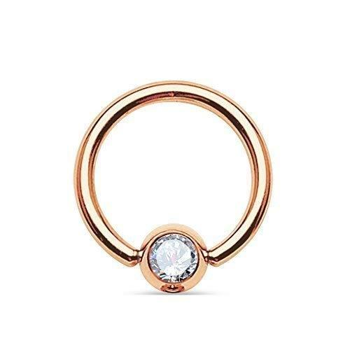 Tapsi´s Coolbodyart®| Piercing Klemmring Edelstahl Chirurgenstahl 316L Brust Augenbraue Lippe Rose Gold Zirkonia 6mm Klar