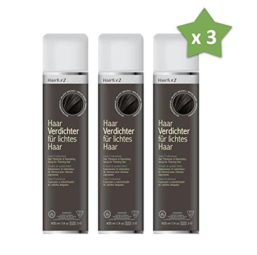 3 x Hairfor2 400 ml. Haarverdichter Spray Streuhaar Schütthaar Microhairs Hair Fiber, Farbe:Dunkel Braun
