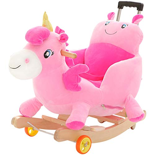 Rocking horse Trojan Horse Rocking Horse Baby Rocking Chair Baby Cradles Music Toy Gift with Universal Wheel