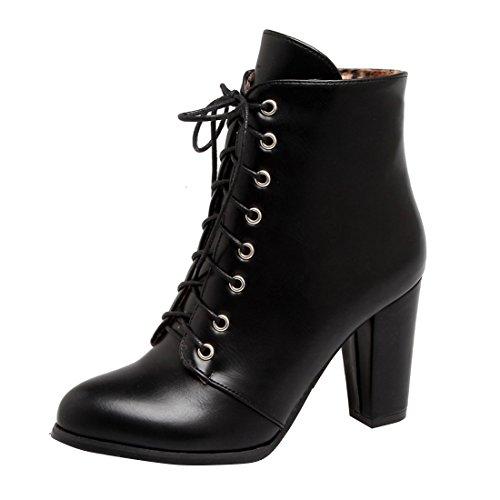 YE Damen Ankle Boots Blockabsatz High Heels Schnürstiefeletten mit Reißverschluss und Schnürung Elegant Schuhe