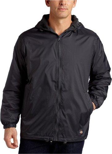 Dickies Men's Big Fleece Lined Nylon Hooded Jacket, Charcoal, 5X Fleece-lined Hooded Nylon Jacket