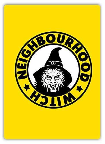 qidushop Blechschilder mit Hexe, Motiv Nachbar der Hexe, Gelb, Kunst der Polizei Kriminalität, für Zuhause, Wandposten, Hauseinweihung, Geschenk