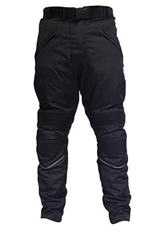 Pantalon de moto - renforts CE/imperméable - noir uni -
