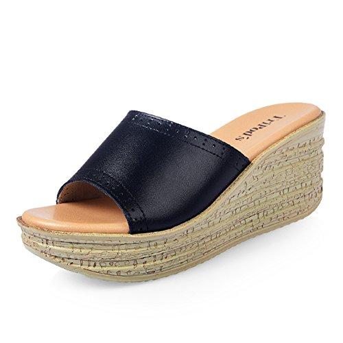estate Lady pantofola/Elevato comfort con pantofole e Sandali minimalisti/suola spessa focaccina alla fine di una parola/pendio Pantofole donna A