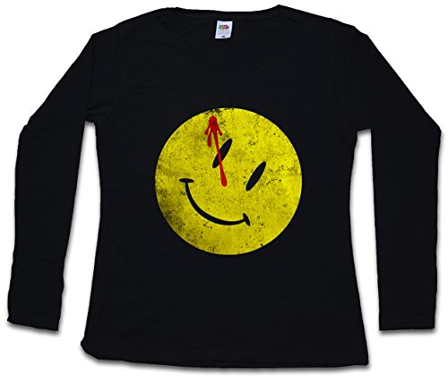 Urban Backwoods Bloody Button Women Long Sleeve T-Shirt – Les Le Book Gardiens Comédien Watchmen Heroes Comedian Comic TV Smiley The Sizes XS – 2XL