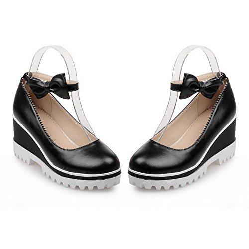 VogueZone009 Femme Boucle à Talon Haut Pu Cuir Couleur Unie Rond Chaussures Légeres Noir