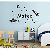Suwhao Baby Boy Kids Name Decals Space Planet Wall Sticker for Birthday Bedroom Decor 57X35Cm
