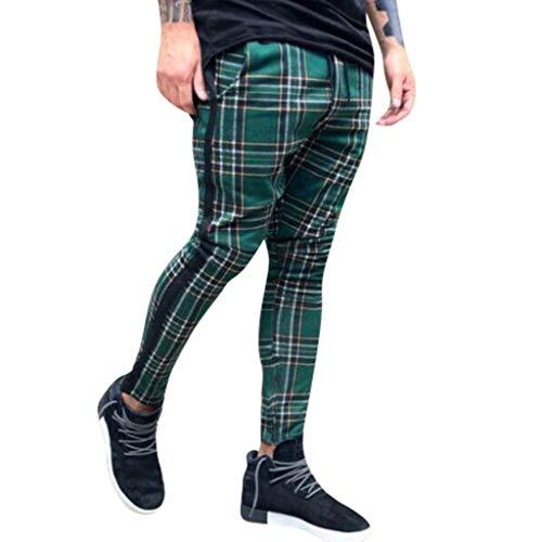Bellelove Lange Freizeithosen für Männer, Mode Slim Fit Karierte Hose Design Retro Jogging Hose Bequeme Hose für Zuhause Chinohose Stretch Cargo Hose (Männer True Religion Jeans 32)