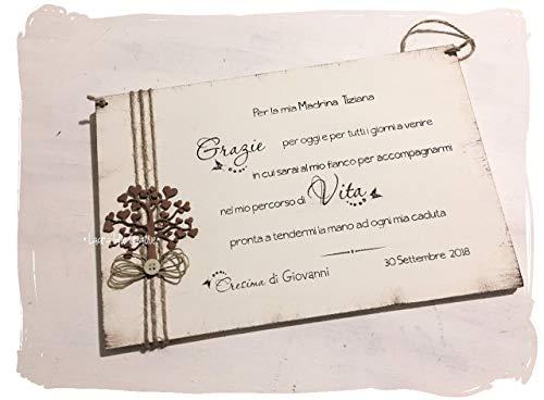 Targa ricordo in legno per Madrina e Padrino Battesimo o Cresima con albero della vita - Idea regalo personalizzabile
