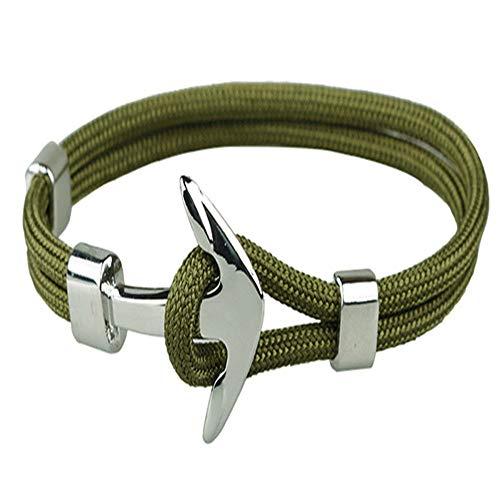 KKVK Hochwertige Armbänder Für Männer/Frauen Anker Form Armbänder Edelstahl Polyester Seil Schmuck H1 21 cm lang
