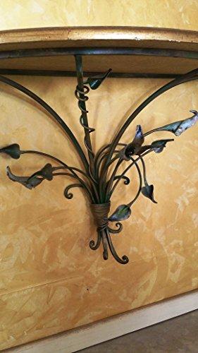 Consolle ingresso con telaio in ferro battuto piano in for Specchio in ferro battuto