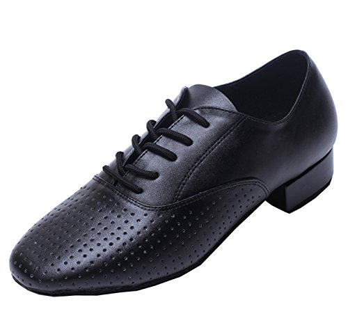 Minitoo qj806da uomo in pelle confortevole moderno Salsa Tango Ballroom Latina festa di nozze scarpe da ballo Black