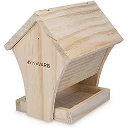 Navaris Nichoir pour Oiseaux Extérieur - Kit Maison en Bois à Construire soi-même - Cabane à Oiseaux et Décoration pour Le Jardin - 17x13x17,5 cm