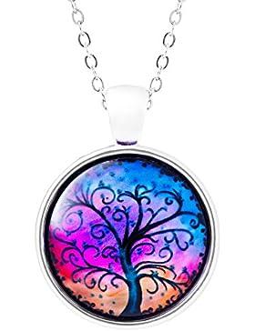 Klimisy - Lebensbaum Kette mit Glas-Anhänger für Damen - elegante Baum des Lebens Halskette mit rundem Bild-Medaillon...