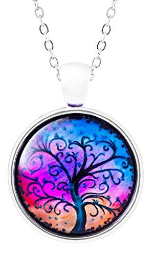 Klimisy - Lebensbaum Kette mit Anhänger aus Glas - Buy one & Plant one Tree - Hochwertige Halskette mit Baum des Lebens Medaillon - Eco & Fair -
