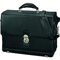 Alassio - 47127 MONZA - briefcase with shoulder strap, leather, black