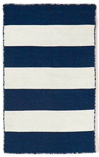 Liora Manne Sorrento Rugby Stripe Navy Reversible Lightweight Rug, 2' X 3', Blue and Ivory -