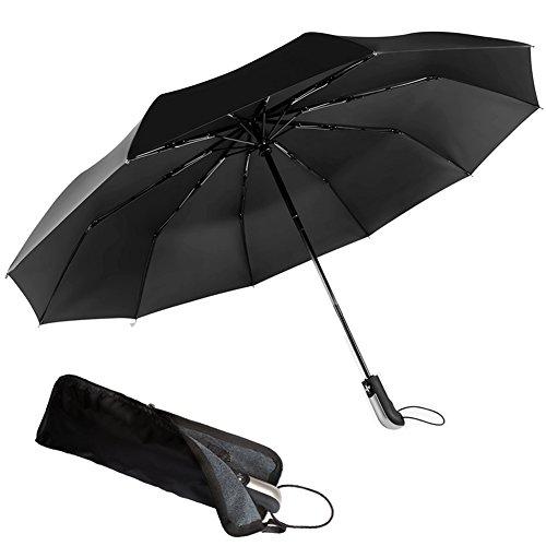 Automatik Regenschirm - VON COVACURE - Taschenschirm Teflon-Beschichtung Schnell Trocknender Windsicher Schirm für Herren und Damen, Schwarz