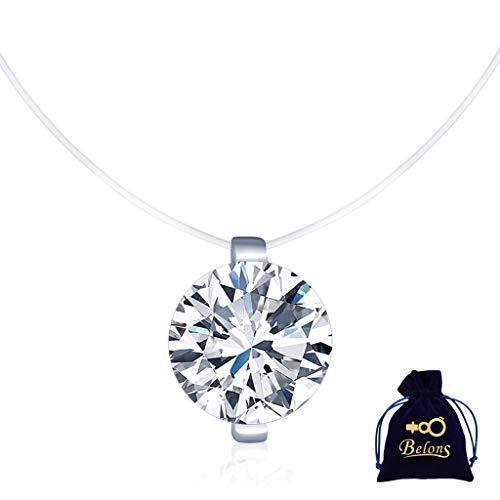 Belons 925 Sterling Silber 8mm Zirkonia Anhänger Damen Halskette Schwebender Stein Kette Unsichtbare Nylonkette Choker