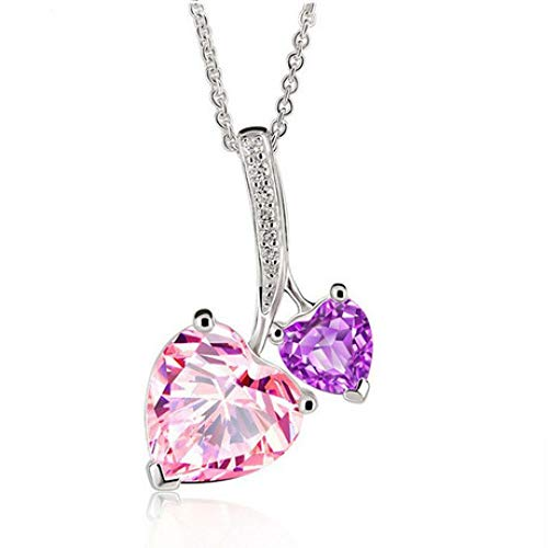 hxy Halskette, Anhänger aus 925er Sterlingsilber mit Diamanten und natürlichem Pulver mit Kristallkette (Quarz-diamant-halskette)
