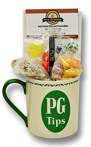 PG Tips Mug with a selection 1950's old fashioned Sweets