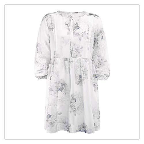 Women Summer Flowers Print Chiffon Dress with Long Sleeve Ladies Loose Casual Short Mini Dress Vestidos Verano 2019 New White S Jovani Homecoming