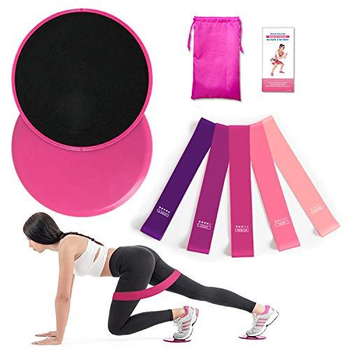 Soketop 2 Kern Übung Sliders & 5 Fitnessbänder Home Workout-Set für Teppich- und Hartböden,Core Sliders für Bauchmuskeltraining, Ganzkörpertraining,Crossfit at Home