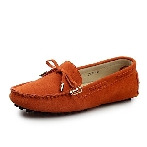 Da donna Minitoo rotondo Punta in lavoro sottile dei Mocassini in pelle scamosciata Mocassini piatti e barca guida scarpe Arancione (arancione)