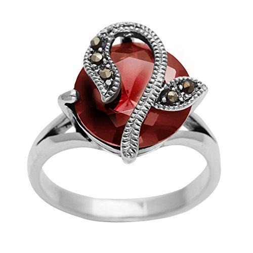 Silverly Anello Argento 925 Zircone Rosso Rotondo Multi Marcasite Fiore