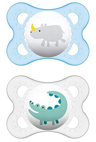 MAM 542411 - Ciuccio'Original' in silicone per bambini da 0 a 6 mesi, senza BPA, confezione doppia, colori assortiti
