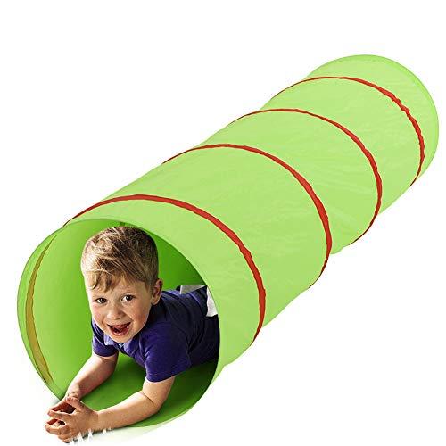 BAKAJI Tenda Tunnel Giocattolo per Bambini Pieghevole Chiusura Pop Up Gioco Esterno Giardino Casa Dimensione 48 x 180 cm (Verde)