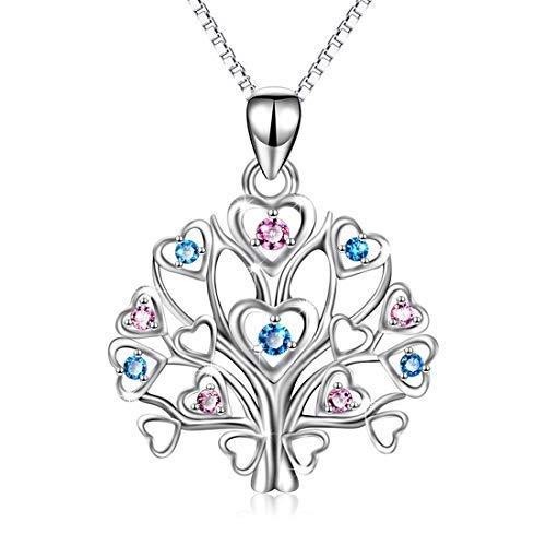 Stammbaum des Lebens Anhänger Halskette s925 Sterling Silber eingelegten farbigen Diamant Anhänger Mode Temperament Ornamente, Schmuck für Frauen, Mama, Mutter, Frau, Mädchen