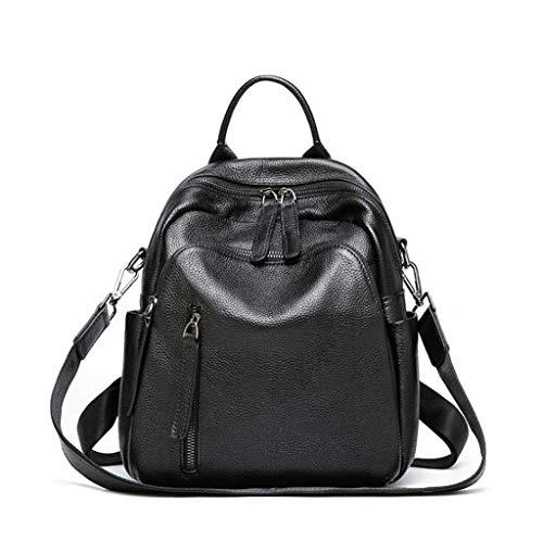 Yyqtbb Freizeit Damen Leder Rucksack Mode wasserdicht Leder Schule Umhängetaschen mit Schultergurt für Mädchen schwarz mehrere Taschen Damen Rucksack -