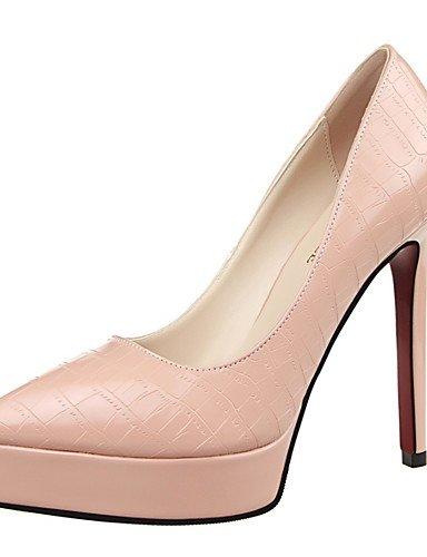 WSS 2016 Chaussures Femme-Mariage / Habillé / Soirée & Evénement-Noir / Rose / Rouge / Argent-Talon Aiguille-Talons-Talons-Similicuir black-us8.5 / eu39 / uk6.5 / cn40