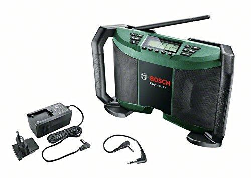 Bosch DIY batteria di lavoro Radio Easy Radio 12, Batteria, Cavo Aux, Cartone (12 V, 2,5 AH, tensione di ingresso 100 – 240 V).