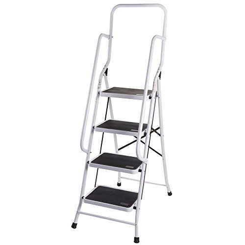 Home Discount 4 Step Ladder With Safety Handrail Foldable Safety Non Slip Matt Safe Heavy Duty