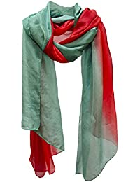 Lightweight Hand Tie Dye Pure Silk Scarf Shawl Wrap Stole Sarong Green Red