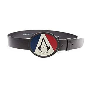 Assassins Creed Unity Français tricolore Drapeau et classique Crest Logo ovale Boucle de ceinture (Large, Noir)