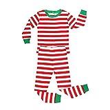 Elowel Unisex Baby Mädchen Und Jungen Weihnachten Gestreift-Design 2-teilig Rot Und Weiß Schlafanzug 100% Baumwolle (Größe 6 M-14 Jahre) 10 Jahre