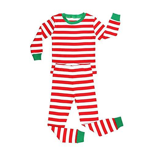 Elowel Unisex Baby Mädchen Und Jungen Weihnachten Gestreift-Design 2-teilig Rot Und Weiß Schlafanzug 100% Baumwolle (Größe 6 M-14 Jahre) 10 Jahre (8 Größe Jungen Weihnachten Schlafanzüge)
