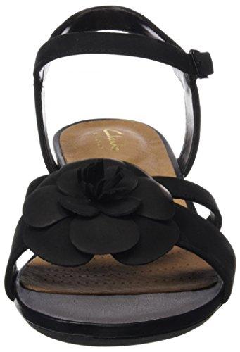 Clarks Parram Stella, Sandales Bout Ouvert Femme Noir (Black Nubuck)